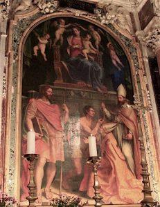 Girolamo Siciolante da Sermoneta, Madonna con Bambino in trono con i santi Eligio, Martino e Giacomo