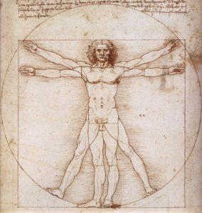 Leonardo da Vinci, Uomo vitruviano, 1490 circa, penna e inchiostro su carta, Gabinetto dei Disegni e delle Stampe delle Gallerie dell'Accademia, Venezia